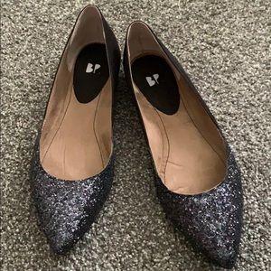 Glitter Toed Black Slip Ons